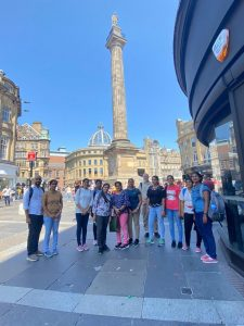New nurses pictured near the monument in Newcastle city centre