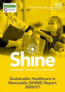 Front cover of the SHINE report with patient and staff member touching elbows wearing masks